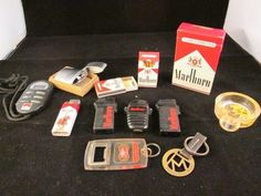 Vintage junk drawer Marlboro lot, lighters, key chain,  Godfather Ash tray! #marlboro