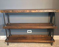 Reclaimed Wood Shelf/Shelving Unit with 3 Shelfs-industrial Urban look with gas pipe - Free Shipping!