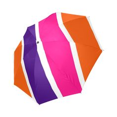 Neon Orange, dark purple, hot pink and white stripes by celeste@khoncepts.com Foldable Umbrella