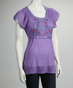 Take a look at this Purple Flower Cap-Sleeve Top by Ruby Rose on #zulily today!