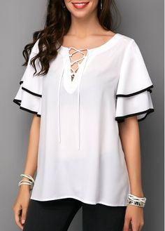 White Lace Up Layered Bell Sleeve Blouse | liligal.com - USD $30.64