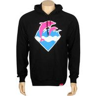 Pink Dolphin Waves Pullover Hoody (black) Apparel WAVESPULLBLK   PickYourShoes.com - Pickyourshoes
