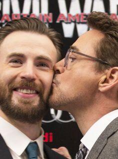 "RDJ smooching Chris Evans -- ""Captain America: Civil War"" press tour."