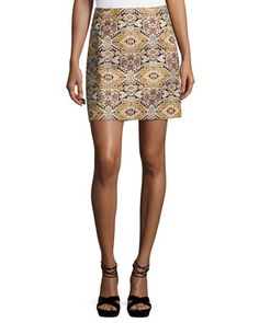 Tapestry-Print+Brocade+Skirt,+Black+by+Laundry+By+Shelli+Segal+at+Neiman+Marcus+Last+Call.