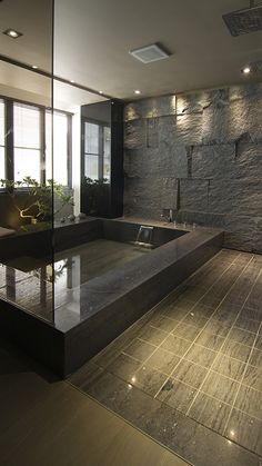 stone wall bathroom