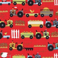 Jenn Ski Oink A Doodle Moo Tractors Barn Red by luckykaerufabric, $4.55