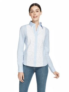 We've taken our favorite menswear-inspired blue striped button-down shirt and added a feminine touch with textured lace panels along the front. Our Lucy Embellished Lace Button-Down works with anything you'd pair a Blue Oxford shirt with (jeans, sweats, pencil skirt...) but it dresses things up a whole lot more.