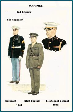 USMC - Corps & 2nd Brigade - 1941/45 Marine Corps Uniforms, Marines Uniform, Ww2 Uniforms, Us Marine Corps, Military Uniforms, Us Marines, Military Humor, Military History, American Uniform