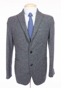 BOGLIOLI Mens Dover Blazer 48 38 M Gray Wool Flecked Tweed Jacket Sport Coat #Boglioli #ThreeButton