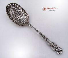 Open Work Ornate Serving Spoon Floral Sterling Silver Duhme 1890
