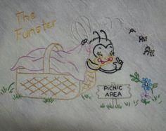 Flour sack Dishtowel - Hand Embroidered - fun loving honey bee