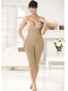 Ulla-la! Hi-waist Long-leg Panty - Looking for a little more control? Get a smoother look from the midriff to the knees. Sizes 12 thru 34.