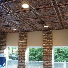 14 Ways to Cover a Hideous Ceiling: Unique Ceiling Ideas Styrofoam Ceiling Tiles, Metal Ceiling Tiles, Fabric Ceiling, Ceiling Beams, Ceilings, Wall Tiles, Drop Ceiling Panels, Dropped Ceiling, Corrugated Tin Ceiling
