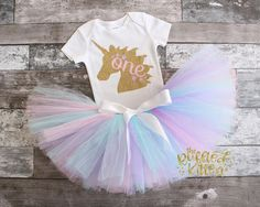 Unicorn First Birthday Outfit - First Birthday - Girl Birthday - 1st Birthday - Tutu - Pink Silver Birthday - One - Cake Smash - Photo Prop by TheRuffledKitten on Etsy https://www.etsy.com/listing/499865470/unicorn-first-birthday-outfit-first