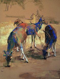 Deers Study by Yael Maimon, Pastel on Sennelier La Carte ~ 23 x 18 Chalk Pastel Art, Chalk Pastels, Pastel Paintings, Sennelier Oil Pastels, Watercolor Pencil Art, Deer Drawing, Animal Magic, Ad Art, Equine Art