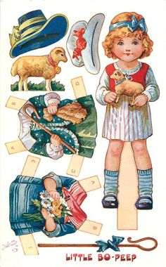 LITTLE BO-PEEP <<=>> FRONT of POSTCARD <<=>> Information <<=>> Set Title: NURSERY RHYMES DRESSING DOLLS, SERIES 2 Set Comment: OILETTE, PRINTED IN ENGLAND, COPYRIGHT LONDON, Paper Cut-outs, Listed in 1930 POSTCARD Catalogue Sold As: Set of 6 Cards Where Sold: Great Britain Card Information  Card Title: LITTLE BO-PEEP Number: 3382 Artist: A. L. Bowley (unsigned, attributed to P. Cope)