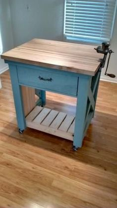 New kitchen rustic island ana white Ideas Duck Egg Blue Kitchen, Portable Kitchen Island, Rolling Kitchen Island, Rustic Kitchen Island, Kitchen Island With Seating, Kitchen Islands, Kitchen Small, Kitchen Country, Kitchen White