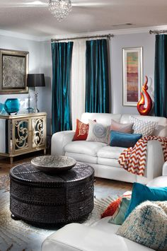 Teal curtains in living room beige living room curtains awesome fantastic gray and teal curtains top . teal curtains in living room Teal Living Rooms, Living Room Orange, Home Living Room, Living Room Designs, Living Room Decor, Living Spaces, Apartment Living, Apartment Therapy, Home Interior