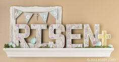Create this beautiful Easter display with paper mache letters.