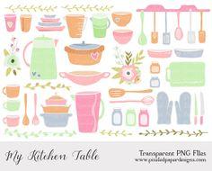 Kitchen & Cooking Clip Art PASTEL KITCHEN by PixeledPaperDesigns, $3.85 #kitchen #scrapbooking #illustration