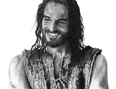 Jesus Smiling Drawing by Bobby Shaw