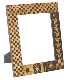 Bulk Wholesale Handmade 7.5x9.5 Wooden Black & Golden Photo-Frame / Picture Holder with Cone-Painting in Traditional Style Motifs – Ethnic-Look Home Décor from India
