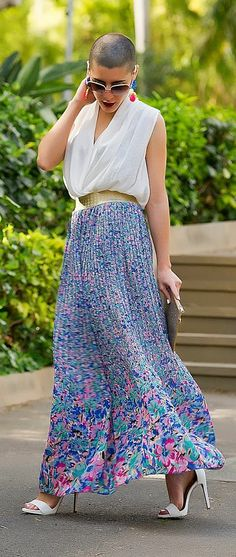 Teria Yabar Floral Pleated Maxi Skirt by Addict Be Iconic