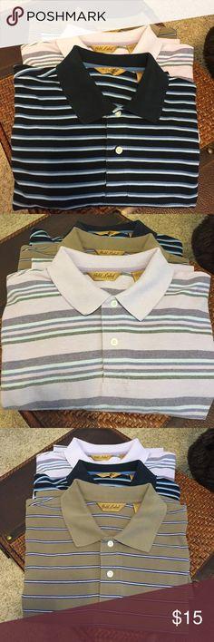 Men's Gold Label Polo Bundle XL Great striped bundle, 3 XL polos, 100% cotton Roundtree & Yorke Shirts Polos