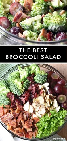 This classic broccoli salad with almonds, grapes, dried cherries, and bacon, will be your go-to for every potluck! #broccolisalad #broccoli #salad #potluck