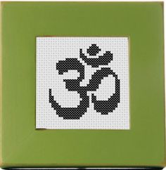 """""""Om Symbol Threezle"""" - From CrassCross. The cross stitch pattern to make this piece is available for just $3. """"Threezle"""" - a small cross stitch designed by Pete Seazle, framed in a 3-INCH HOOP OR 3x3 FRAME. (7.62 cm) The small size is perfect for..."""