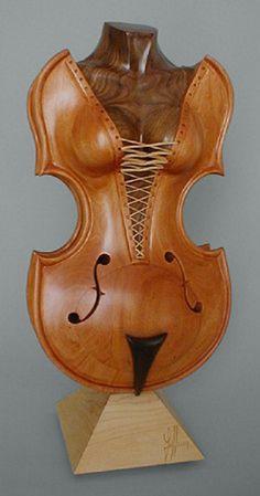 Wooden sculpture By Philippe Guillerm Arte Cello, Violin Art, Art Sculpture En Bois, Driftwood Sculpture, Metal Sculptures, Abstract Sculpture, Bronze Sculpture, Wood Carving Art, Wooden Art