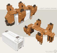 Light Cargo Drone, Billy  Wimblett on ArtStation at https://www.artstation.com/artwork/light-cargo-drone