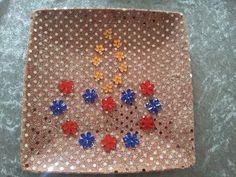 Pooja thali embellished with diya shaped rhinestones
