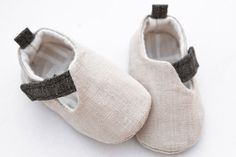 LINEN Baby boy shoes - light brown Loafers - Infant sneakers - Flats Slippers - Crib booties -  beige natural linen