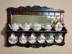 Vintage Wood Tea Cup & Saucer Wall Shelf Rack Display with Mirror Wall Shelf Rack, Wall Shelves, Tea Cup Saucer, Tea Cups, Tea Cup Display, Display Shelves, Vintage Wood, Home Kitchens, Wood Projects