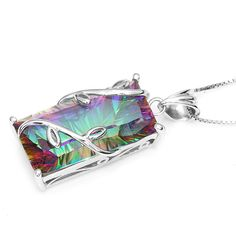 Huge 17.8ct Vintage Fashion Genuine Natural Fire Rainbow Mystic Topaz Necklaces Pendant Only $43.89 => Save up to 60% and Free Shipping => Order Now! #Bracelets #Mystic Topaz #Earrings #Clip Earrings #Emerald #Necklaces #Rings #Stud Earrings