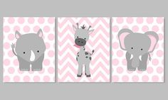 Zoo guardería Decor vivero de elefante rosa por SweetPeaNurseryArt