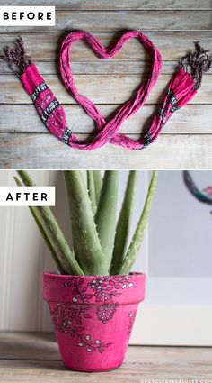 upcycled-scarf-planter-before-and-after-upcycledtreasures