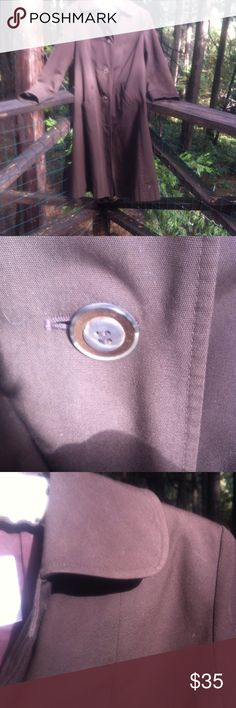 Retro  made in London trench coat Made in London brown cotton twill trench coat , rounded collar, unique double( that's how I can alway til it's european ) layer button..light weight, great for layering... A 'Kristens Find' posh on girlfriend;) aquascuttum Jackets & Coats Trench Coats
