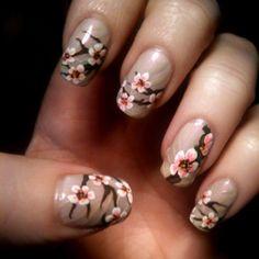 Sacred peach tree of Wisdom flowers manicure. enjoy!