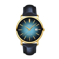 Elegacnki zegarek męski w stylu retro Atlantic Super De Luxe 64351.45.51. Wzorcem dla tego zegarka był model z lat 60 XX wieku. Oryginalny logotyp marki w stylu retro używany w tamtych latach, dodaje wyjątkowego charakteru. Ten model charakteryzuje się stalową kopertą o średnicy 42 mm oraz skórzanym paskiem. Stal szlachetna  symbolu 316L została pokryta powłoką złota.  #zegarek #zegarki #timetrend #atlantic Omega Watch, Watches, Leather, Accessories, Retro, Clocks, Clock, Rustic, Mid Century