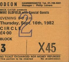 London 1982/09/16 Mike Oldfield, Special Guest, London, London England
