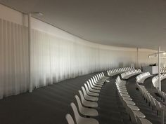translucent acoustic curtain WHISPER air by Annette Douglas Textiles Hall Curtains, Rolex, Cultural Center, Learning Centers, Whisper, Acoustic, Switzerland, Conference, Architects