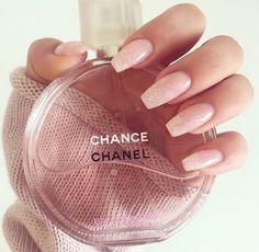 Natural pink glitter tip fade
