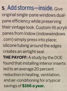 Custom-fit acrylic inside storm windows.
