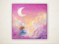"""Swinging on a Dream, small 6""""x6"""" Original Painting, gift idea, fantasy, swings, pink clouds, dream, moon"""
