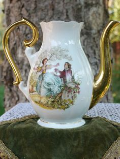 Vintage Zajecar porcelain teapot with courting couple scene. Gorgeous curled, gold plated handle and nose.  Made in the former Yugoslavia.   ex-Yu, SFRJ, Jugoslavija, Yugoslavia,nostalgia,childhood memories,80s,osamdesete,stare igracke,vintage,retro