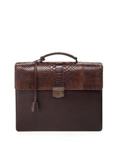 Python-Flap Double-Gusset Briefcase, Brown by Salvatore Ferragamo at Bergdorf Goodman.