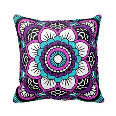 Custom Floral Pretty Pink Glitter, Purple, and Aqua Teal Blue Green Sparkles Bling Black and White Polyester Throw Pillow features a trendy fashionably stylish and elegantly modern beautiful geometric flower Indian mandala printed design makes a uniquely lovely birthday gift especially for a teenage girl, Christmas, wedding, graduation, or any day gift for yourself, best friend, or family member. #girls #womens #home #college #fashion #style #pretty #girlygirlgraphics #zazzle