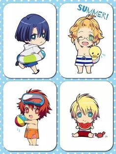 Masato, Natsuki, Otoya and Syo - chibi summer! ^^